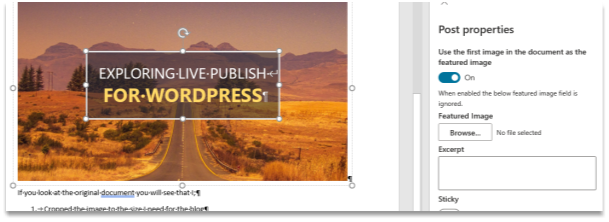 Live Publish's Post properties pane showing how to use the first image in a post as the featured image.